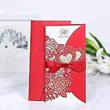 H & D 20PCS Red set di biglietti di invito per festa di nozze Decor free buste sigilli, laser fiori, cuore, Ribbion Decor