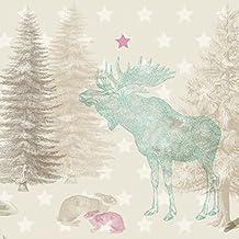 Anna pared máximo de–Cenefa autoadhesiva Forest Animals–Cenefa para pared infantil/bebé habitaciones con animales en beige de bosque de tonos–Adhesivo de pared Dormitorio Niña & niño, pared decoración bebé/Niños