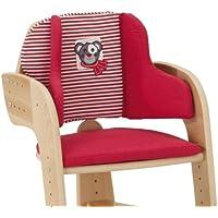 Herlag Sitzpolster für Tipp Topp Comfort IV Hochstuhl - Stuhlkissen für Kinder - bequeme & abwaschbare Sitzauflage - aus Baumwolle - rot mit weißen Streifen