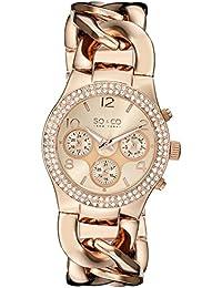 So y Co para mujer de Nueva York reloj infantil de cuarzo con diseño de rayas de oro rosa y cristales esfera analógica y correa de acero inoxidable de oro rosa y cristales 5013a, 3