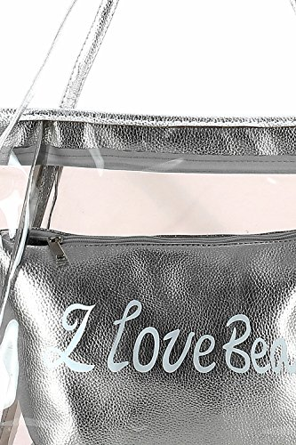Borsa da spiaggia trasparente con sacchetto metallizzato Argentato