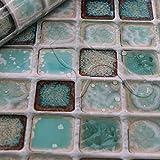 Hode Adhesivo de Azulejo para Cocina, Baño 40X300cm Mosaico Efecto 3D Pegatinas de Baldosas-Stickers Azulejos (Verde)