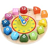 Wondertoys Wooden Shape Sorting Clock Toy with Numbers and Shapes Teaching Time Educational Gifts for Children