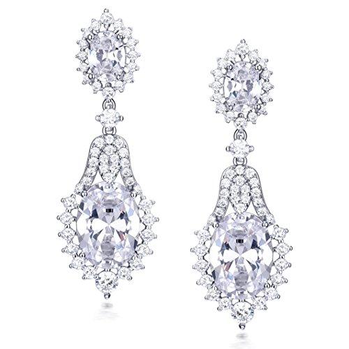 GULICX Makellos Braut Weiß Kristal Oval Cut Dangle Ohrringe Silber-Ton Zirkonia CZ Ohrhänger (Kleid Der Anspruchsvolle Braut Mutter)