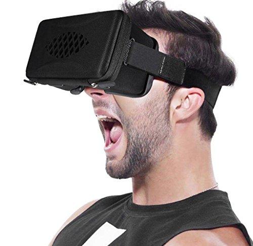 3D VR Headset, Hizek Tuch VR Brille mit Zipper Protable 3D Virtual Reality Glasses für 4,7 ~ 6,0 Zoll Bildschirm für iPhone 7/6sPlus/iPhone6Plus,Samsung Galaxy S7/Galaxy S7Edge,HUAWEI,Xiaomi usw.