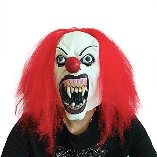 SCLMJ Lustiges Rotes Haar-Zombie-Clown-Masken-Halloween-Kostüm-Ball-Parodie-Erschreckende Stützen