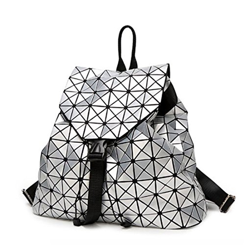 Bao Rucksäcke Frauen Geometrische Schultertasche Schultasche Hologramm Leucht Rucksack Silber Rucksack Mochilas Silver -