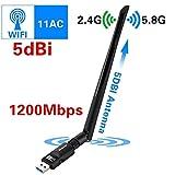 LeKing Adaptador WiFi, Adaptador Adaptador de Red inalámbrico USB de 1200 Mbps Adaptador dongle de Doble Banda 802.11ac 2.4G / 5.8G WiFi con función WPS, Adaptadores de Red USB