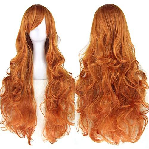 Amyseller Perücke 80cm Lange lockigen Perücken Haar Wig für Damen Frauen Karneval Cosplay Halloween Schaufensterpuppen Mottoparties (Orange)