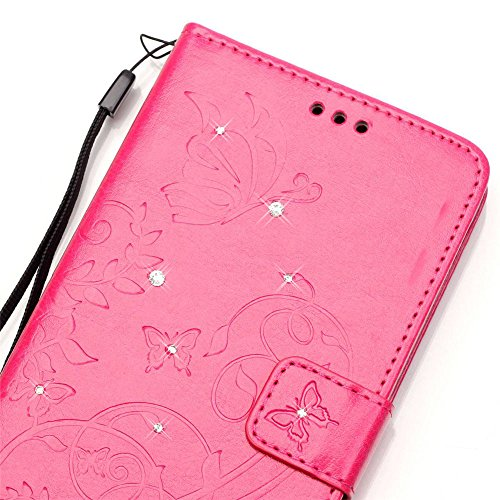 Nutbro Samsung iPhone 5S SE Case,iPhone 5S Wallet Case Fashion Elegant Design Embossed Flip PU Leather Wallet Case Credit Card Case Slot Cover With Hand Strap YB-iPhone-5S-231