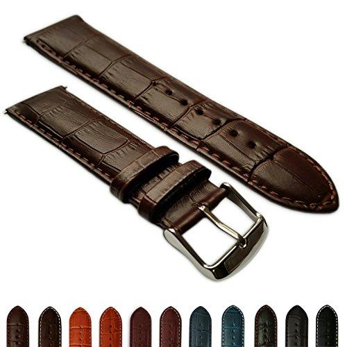 28mm Uhrenarmband echt Leder Mock Croc Band Herren Edelstahl Schnalle hellbraun/braun gepolstert -
