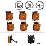 LED-MARTIN® 6er Sparset SU7 Umrissleuchte - inkl. Halter - gelb/orange - zugelassen für den Straßenverkehr (E-Zeichen eingeprägt) - Begrenzungsleuchte - Positionsleuchte - LKW - Auflieger - Anhänger