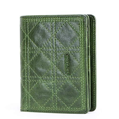 YXCM Geldbörse, Damen-Leder-Multifunktionsmode gestickte Geldbörse mit kurzem Reißverschluss,Green. (Schwarze Damen-scheckheft Brieftasche)