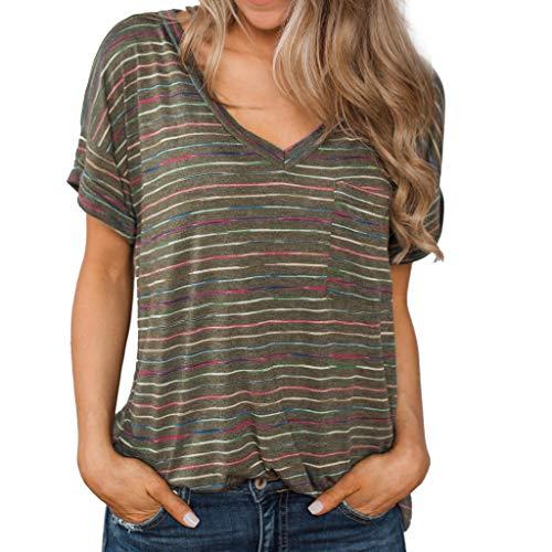 Andouy Damen T-Shirt Kurzarm Bunt gestreiftes V-Ausschnitt Top Gr.36-42 Tunika Slouch T-Shirt(S(36),Grün) -