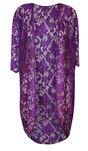 Islander Fashions Damen Open Front Floral Lace Long Cardigan Top Damen Kurzarm Kimono Top Purple EU 42 (Floral-nylon-strickjacke)