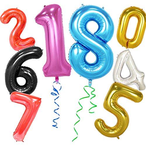 lasbare Große Anzahl Ballons Digit Folie Geburtstag Hochzeit Party Dekoration Anzahl - Gold 1 ()