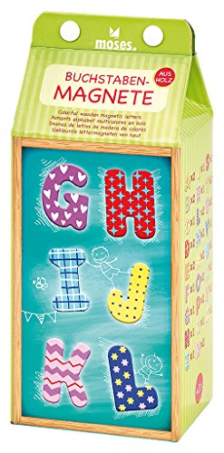 Moses 37522 Buchstaben-Magnete   40 extragroße Buchstabenmagnete aus Holz im Set