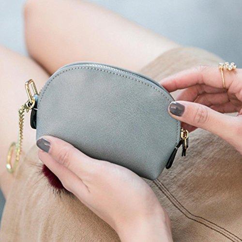 Longra Chiusura lampo tinta unita, piccola borsa e mini portafogli in pelle PU per donna Grigio