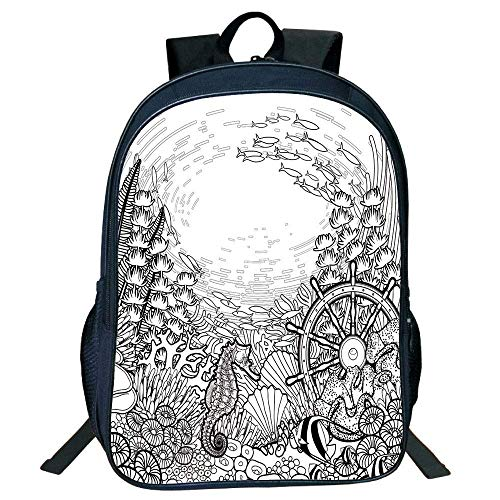ylish Unisex School Students Aquarium,Graphic Coral Sea Horse Ocean Fish Sunken Ship Line Art Drawing Decorative,Black White Kids, ()