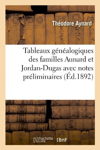 Tableaux généalogiques des familles Aunard et Jordan-Dugas avec notes préliminaires (Éd.1892) par Théodore Aynard