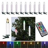 AUFUN LED Kerzen 40 Stück RGB Weihnachtskerzen mit Fernbedienung mit Timer LED Kerzen Outdoor Weinachten LED für Weihnachtsbaum, Weihnachtsdeko, Hochzeitsdeko, Party, Feiertag