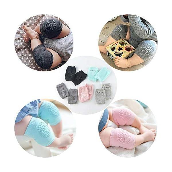 5 pares de rodilleras para bebé, multicolor, antideslizantes, ajustables y elásticas, para bebés de 0 a 24 meses 4