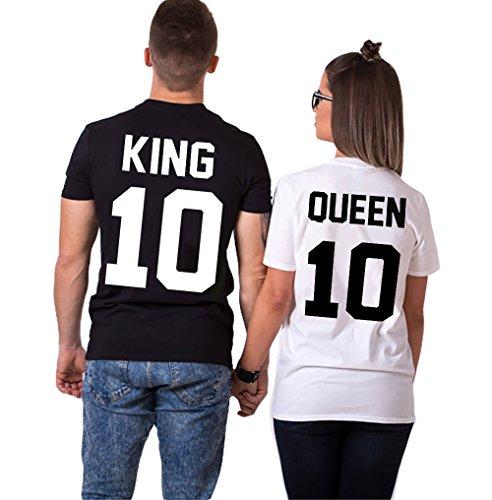 Pareja King Queen camisetas para mujeres y hombres impresión KING QUEEN 10 con mangas cortas 2 piezas por JWBBU® (King-XL+-Queen-L, Negro y Blanco)