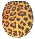 Abattant WC - Finition de haute qualité - Charnières robustes - Fixation facile - Peau de léopard
