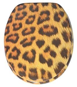 Abattant WC - Grande sélection - Finition de haute qualité - Charnières robustes - Fixation facile (Peau de léopard)