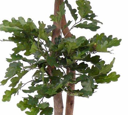 artplants Künstlicher Eichenbaum AJDIN, 2 Stämme, 75 Eicheln, 1050 grüne Blätter, 180 cm – Kunstbaum/Plastik Baum
