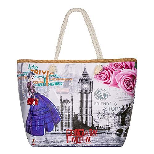 c3ce5f8faa15 Beach Bag, Zedela Womens Large Summer Canvas Tote Bag,Holiday Tote Bags  Shoulder Bag with Zipper Top,Shopping Bag (Romantic Paris)