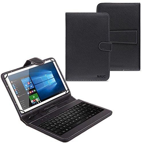 NAUC Tablet Tasche USB Tastatur Keyboard Alcatel One Touch Pixi 3 10 Zoll 3G Hülle QWERTZ Standfunktion Micro USB