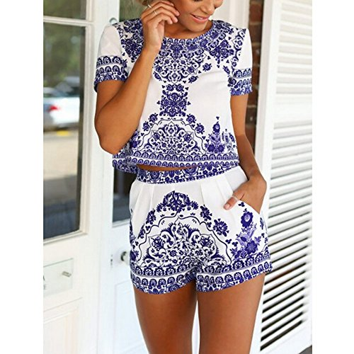 Frauen Blau Weiß Muster Druck Retro Tops Shorts Anzug Blau