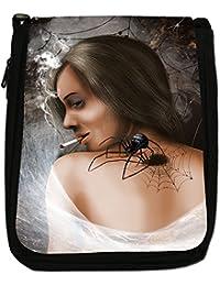 Attractive Beautiful Women Smoking Medium Black Canvas Shoulder Bag - Size Medium