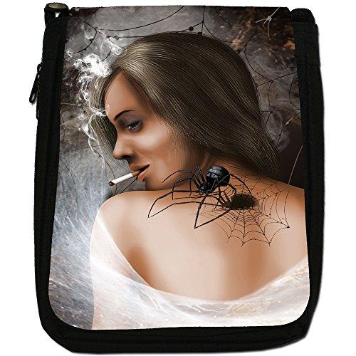 Bella Donna, modello Smoking-Borsa a tracolla in tela, colore: nero, taglia: M Black Widow Spider Woman