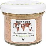 4er-SET Bio Katzenfutter Schaf, Reis im GLAS! 100g BIOPUR