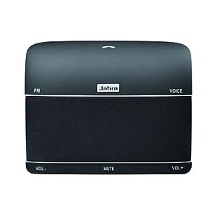 Jabra Freeway Bluetooth KFZ Freisprecheinrichtung (Deutsche Sprachsteuerung, Stereo-Sound, Doppelmikrofontechnologie, Geräuschunterdrückung, Audiostreaming, FM-Transmitter) schwarz
