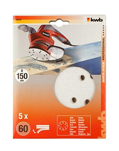 KWB Quick-Stick Schleifscheiben, Holz und Lack, selbsthaftend, Durchmesser 150 mm, 4960-06