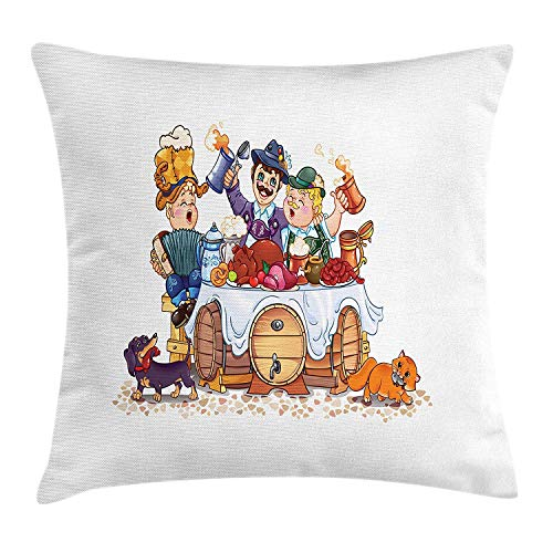 Oktoberfest Throw Pillow Cushion Cover, Colorful Bavarian Autumn Season Celebration Illustration with Beer and Pork, Decorative Square Accent Pillow Case, 18 X 18 inches, Multicolor Bavarian Beer House