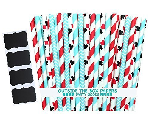 rs Light Blue, Red and Card Themed Paper Drinking Straws-Birthday Alice in Wonderland Party Supply-7.75 inches-Pack of 100, Red, Black, Light Blue by Outside the Box Papers ()