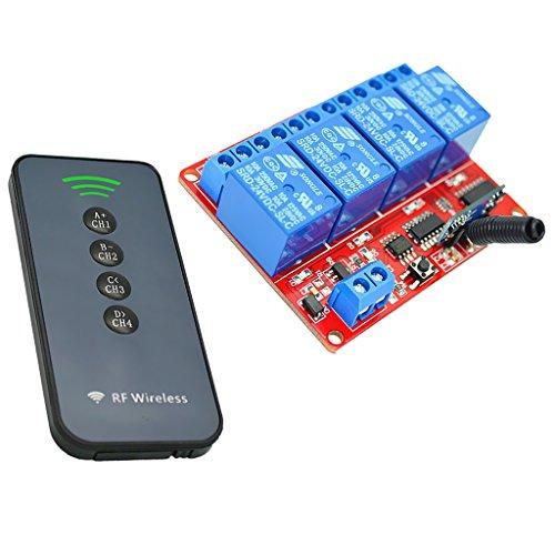 MagiDeal 4 Kanal Infrarot Empfänger Modul Relais Modul Board + 4 Tasten Fernbedienung Schalter 24V - Ultradünne -