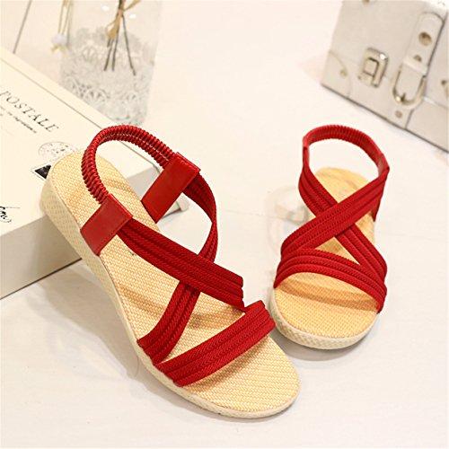 Lalang Femme Sandales Bout Ouvert Sandales à bride de cheville Plates Chaussures Rouge