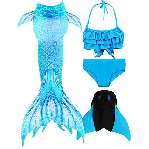 GNFUN Meerjungfrau Schwanz mit Meerjungfrau Badeanzug Schwanzflosse Zum Schwimmen Kostüm Für Kinder Mädchen Bikini Set und Monoflosse, 4 Stück Set, Himmelblau, 130-140cm