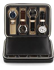 EchoAcc® Cuero de la PU 8 Rejillas Exhibición del Reloj Cremallera Caja de Almacenamiento para el Almacenamiento del Reloj, Colección, Exposiciones