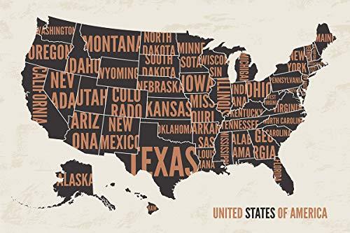 Postereck - Poster 2124 - USA Landkarte, Laender Amerika Staat Kontinent Reise Größe 4:3-81.0 cm x 61.0 cm