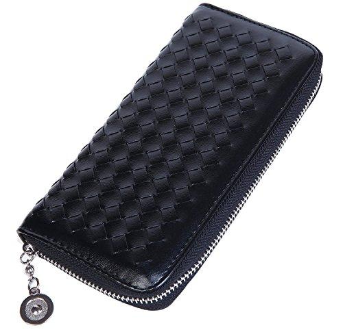 Lifeyz, borsellino da donna, portafogli, portamonete, intrecciato., Pink nero - nero