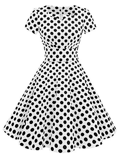 Dresstells Damen Vintage 50er Rockabilly Kurzarm Swing Kleider Partykleid White Black Dot 3XL