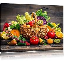 Les fruits et légumes dans le panier, le format: 100x70 sur toile, XXL énormes Photos complètement encadrées avec civière, impression d'art sur murale avec cadre, moins cher que la peinture ou une peinture à l'huile, pas une affiche ou une bannière,