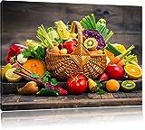 Frisches Obst und Gemüse im Korb, Format: 60x40 auf Leinwand, XXL riesige Bilder fertig gerahmt mit Keilrahmen, Kunstdruck auf Wandbild mit Rahmen, günstiger als Gemälde oder Ölbild, kein Poster oder Plakat