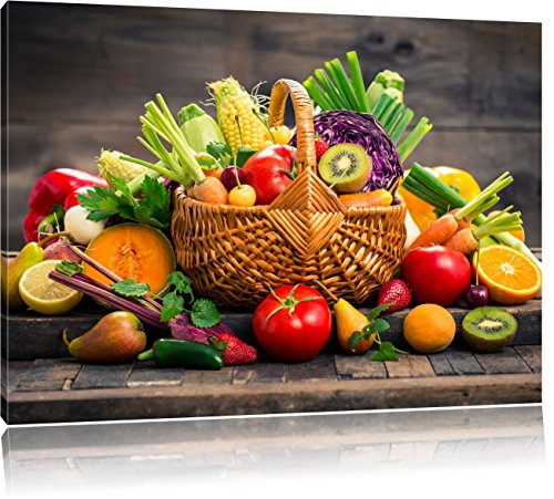 Frutta fresca e verdura nel carrello, dimensioni: 80x60 su tela, XXL enormi immagini completamente Pagina con la barella, stampa d'arte sul murale con telaio, più economico di pittura o un dipinto a olio, non un manifesto o un banner,